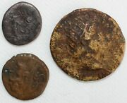 Lot Of 3 Unknown Ancient Bronze Coins Roma Saturn Prow Of Boat Moon And Sun Dance