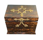 19th Century Traveling Letter Writing Box Coromandel Satinwood And Brass
