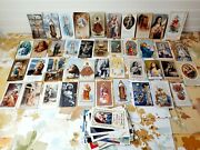 Lot Of 80 Vintage Catholic Prayer Cards Medals Scapular Litho Religious 30s-00s