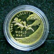 2020-w 25 Proof Wwii 75th Anniversay 1/2 Ounce 99.99 Gold Comemmorative In Ogp