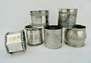 6 Piece Antique Victorian Silver Plate Napkin Rings Assorted Lot