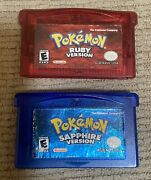 Authentic Pokemon Sapphire And Ruby Version Gameboy Advance Tested Saves L@@k
