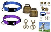4 Pack Goat Bells, Cow Horse Sheep Grazing Copper Bells And Nylon Collar Set