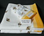 Caro Towelshoney Bees White And Yellowvelour4pc Set2 Bath And 2 Fingertip Towels