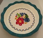 The Pioneer Woman 10 Inch Floral Pie Plate Deep Dish Fluted Edge Farmhouse Decor