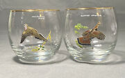 Ned Smith Roly Poly Glass Waterfowl Game Birds Set Of 2 Gold Rim Mid Century Mod