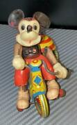Line Mar Toy Celluloid Doll Tricycle Disney Mickey Mouse Vintage Made In Japan