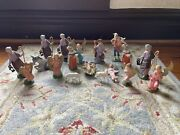 Vintage Depose Italy Nativity Pieces Figures Huge Lot As Is 18 Pieces Read