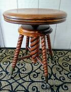 Antique Barley Twist Piano Stool Chair Charles Parker Claw And Glass Ball Feet