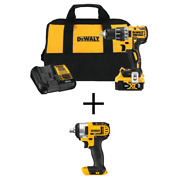 Dewalt Cordless Brushless 1/2 In. Drill/driver W/ 20-volt 1/2 In. Impact Wrench