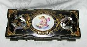 Antique Paper Mache Jewelry Box Mop Inlay Hand Painted Porcelain 19th Century
