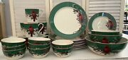 """35 Pieces, Lenox-american By Design,""""winter Greetings By C. Mcclung, Green Band"""