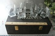 Game Of Thrones Etched Whiskey Scotch Decanter And 6 Glasses In Wood Case Bar Set