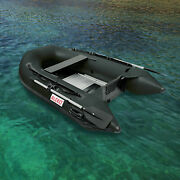 Aleko 8and039 4 Black Color Fishing Inflatable Pontoon Boat With Aluminum Floor