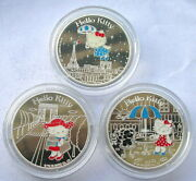 France 2005 Hello Kitty Set Of 3 Silver Coins,proof