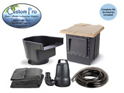 Custom Pro Complete Pond Kit - Water Garden With Waterfall - 11' X 11' -koi Fish