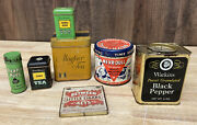 Lot Of 7 Vintage Assorted Small Tins Tea Pepper Cigars Never Dull Watkins Doan's
