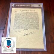 Gerald Ford And Jimmy Carter Bas Autograph Declaration Of Independence Signed