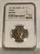 1773 Ngc Ms 64 Rb Period Virginia Half Penny Colonial Copper Coin 1/2p