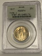 1917 25c Type 1 Standing Liberty Quarter, Pcgs Ms 65 Fh, Toned