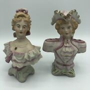 Vintage Bisque Victorian Woman Lady And Man Bust Statues Halsey Import Co. 1953