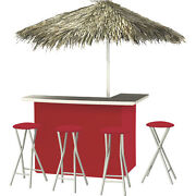 Solid Red Deluxe Portable Bar- Thatched Umbrella And 4 Stools