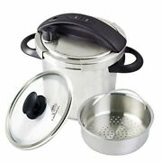 One-touch Pressure Cooker. Stovetop 6 Qt. Stainless Steel With Steamer Basket
