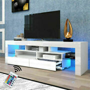 White High Gloss Tv Stand Unit Cabinet Drawers Led Light Living Room Furniture