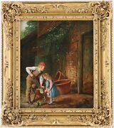 The Young Woodcutters Antique Oil Painting By George Smith British 1829andndash1901