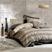 Cream Lines Anthracite, Queen Size Duvet Cover Set, 1-duvet Cover, 1-fitted Shee