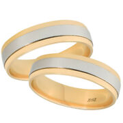 Platinum And 18k Yellow Gold Two Tone Polished Comfort Fit 6mm Wedding Band Set