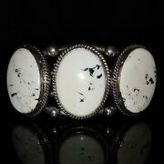 Navajo White Buffalo Turquoise Sterling Silver Cuff Signed Herman Vandever