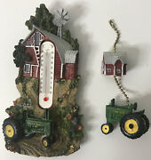 John Deere Farm Scene Thermometer And Ceiling Fan Pull Bundle. Used B17