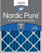 Nordic Pure 16x25x4 Merv 7 Pleated Ac Furnace Air Filters 6 Pack