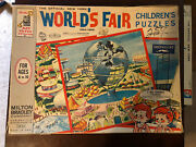 Vintage 1964-65 New York Worlds Fair 3 Large Kids Puzzles In Boxed Set