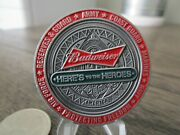 Budweiser Brewery Experience Here's To Heroes Usmc Usn Usaf Army Challenge Coin