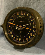 Fully Restored 1942 Wwii Us Navy 24hr. Chelsea Ships Clock 8.5 Dial