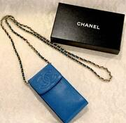 Cabinet Skin Chain Pouch Blue Coco Mark W/box Ladies Vintage Authentic