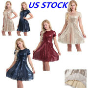 Women Sequin Formal Bridesmaid Wedding Dress Prom Evening Party Cocktail Gown_us