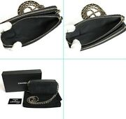 Deauville Shoulder Bag Navy Blue Denim Gold Chain Wallet With Box And Card