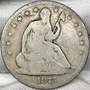 1875-cc 50c Seated Liberty Half Dollar     Great Looking Early Us Silver