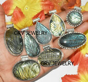 1000pcs Carved Labradorite Gemstone Pendant Lot 925 Sterling Silver Plated Wh-50