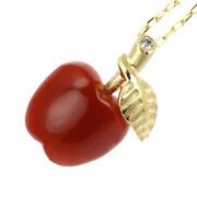 Brand New K18yg Blood Red Coral/coral Diamond Pendant Necklace 0.01ct Apple Selb
