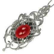 New K18wg Blood Red Coral/coral Diamond Pendant Necklace D0.23ct Selby_japan