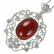 New K18wg Blood Red Coral/coral Diamond Pendant Necklace D0.46ct Selby_japan