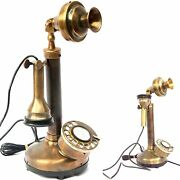 Vintage Antique Candlestick Rotary Dial Phone Brass Finish Table Decorative Tele