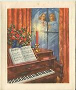 Vintage Christmas Ecclesiastical Piano Holly Candle Angels Praying Greeting Card