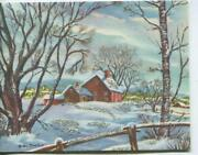Vintage Christmas Red Colonial House Snow Town Rockport Ma Artist Greeting Card