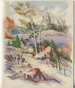 Vintage Christmas Glitter Snow Outdoors Mountains Lake Nature Hill Greeting Card