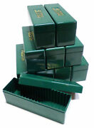 Lot Of 10 Vintage Green Pcgs Boxes Lightly Used Each Holds 20 Pcgs Slabbed Coins